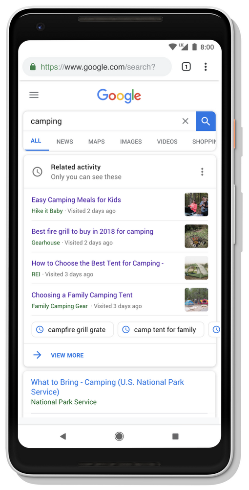 activity card on google
