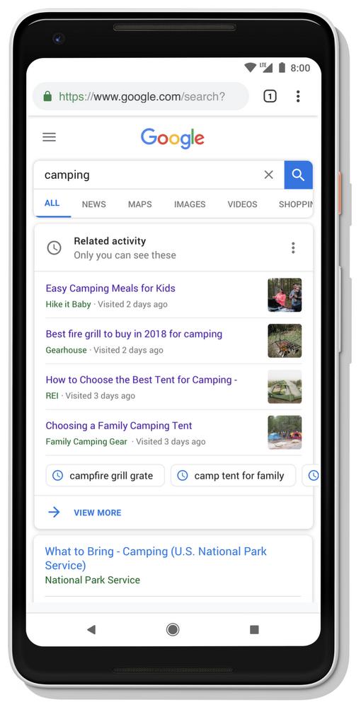 activity card on google