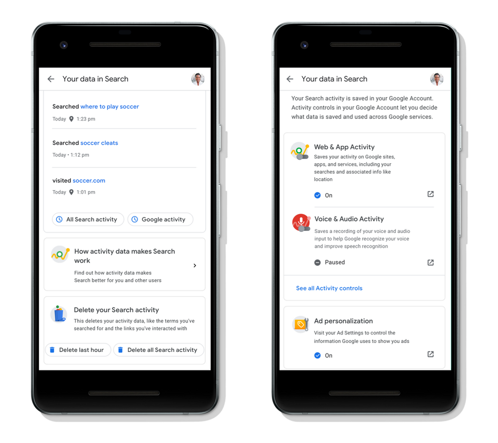 google privacy setting directly in search
