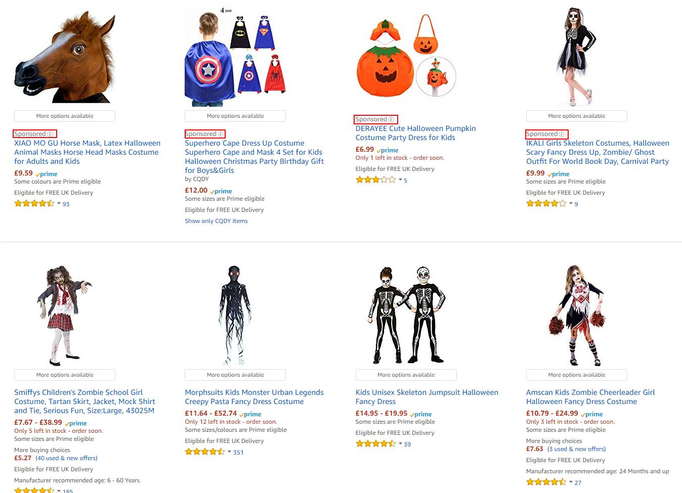 amazon halloween costume search