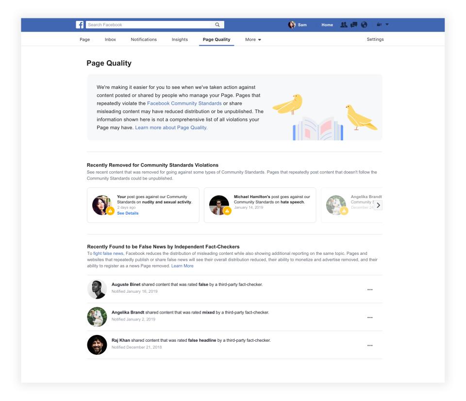 Facebook quality tab