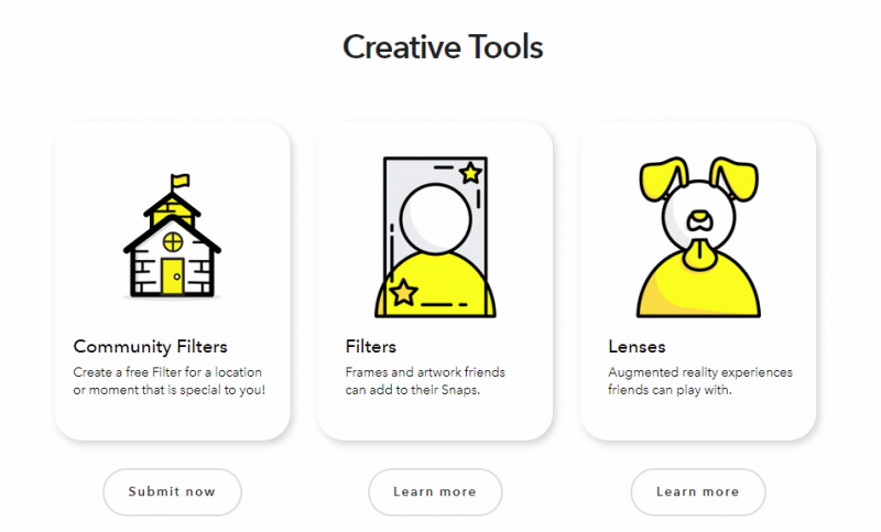 snapchat creative tools menu