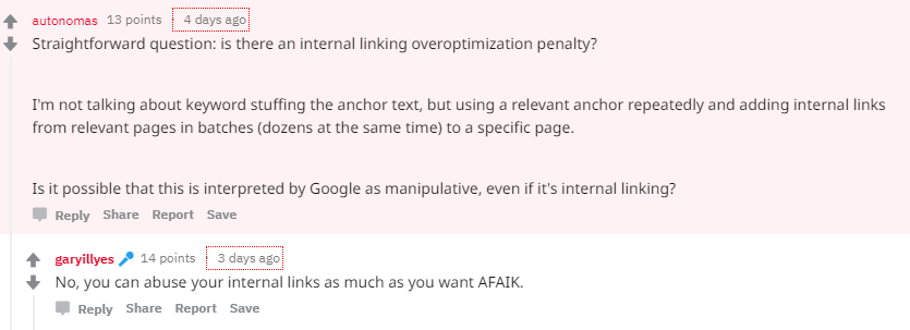 no internal linking penalty