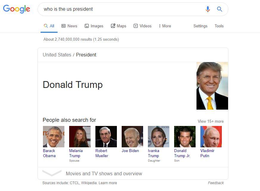 donald trump search