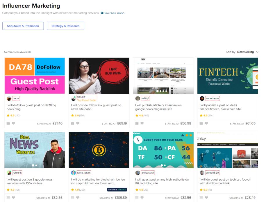 fiverrr influencer marketing platfrom