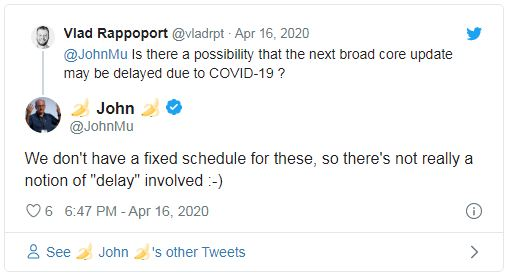 john mueller tweet on delayed update