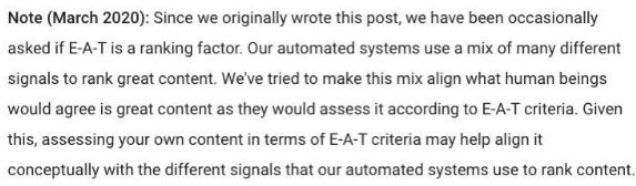 Google statement on EAT in updated rater guidelines