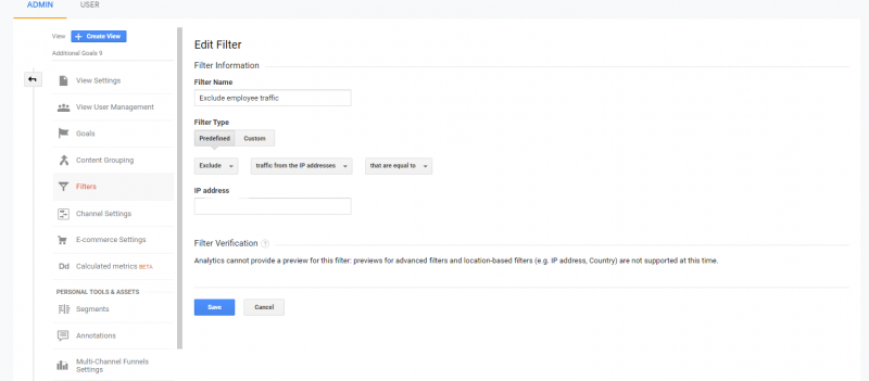 google analytics menambahkan filter karyawan