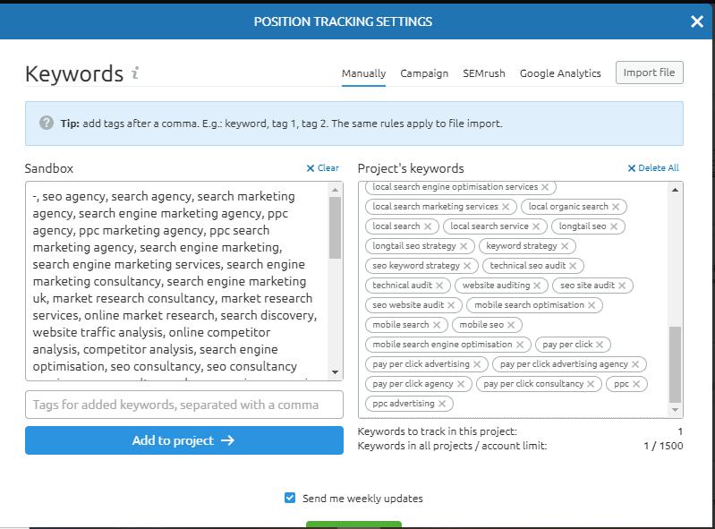 SEMrush project keywords 1