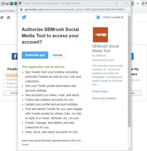SEMrush project social media tool