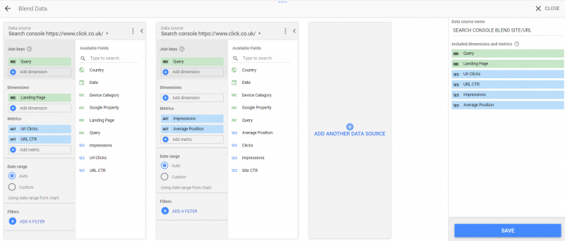 blending search console impression types