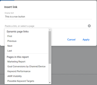 linking text for a report nav